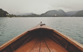 filter, Lake Bled, water drops, depth of field, water, boat