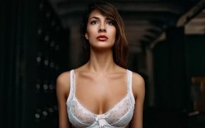 white bra, girl, model