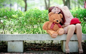 smiling, teddy bears, Asian, bench, girl, sitting
