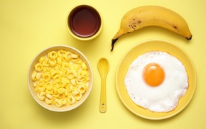 food, bananas, yellow, breakfast, eggs