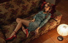 lying on back, red heels, high heels, dress, Anastasia Scheglova, braids