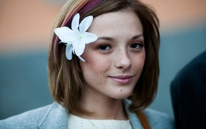 Olga Kobzar, face, freckles, girl, looking at viewer, flower in hair