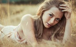 girl outdoors, freckles, looking at viewer, Olga Kobzar, girl, lying down