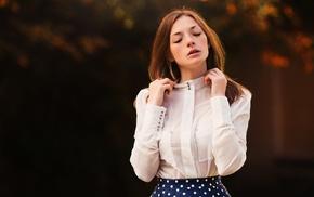 girl outdoors, face, closed eyes, hands, polka dots, Olga Kobzar
