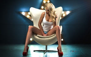 blonde, short shorts, white tops, red lipstick, chair, cleavage