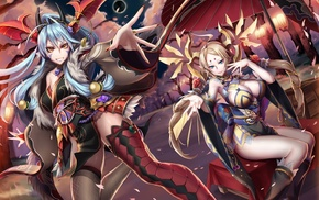 long hair, Puzzle  Dragons, thigh, highs, cleavage, anime girls