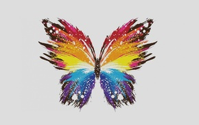colorful, digital art, minimalism, simple background, butterfly, white background