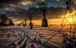 technology, antenna, landscape, HDR, sun rays, winter