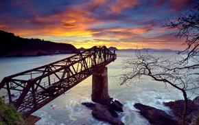 nature, pillar, waves, cliff, mountains, bridge