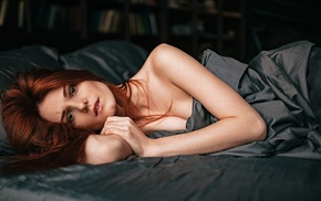 redhead, model, in bed, girl