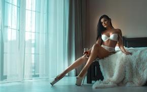 white lingerie, model, panties, window, garter belt, sitting