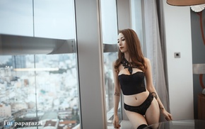 black stockings, looking away, girl, black lingerie, window, Asian