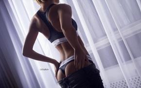 blonde, back, Calvin Klein, Maria Nikolaeva, Alex Bazilev, pants