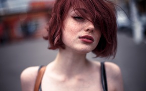 bare shoulders, redhead, looking at viewer, hair in face, freckles, Mayya Giter