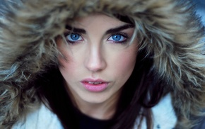 looking at viewer, girl outdoors, Danielle Sharp, fluffy hat, girl, blue eyes