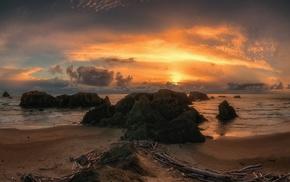 sky, Oregon, rocks, sunset, beach, clouds