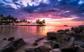 nature, tropical, sunset, sea, palm trees, rocks