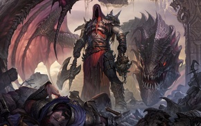 fantasy art, hero, dragon