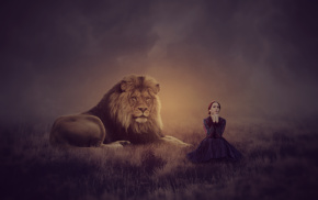 photo manipulation, lion, Photoshop, fantasy art, girl, magic