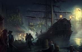 pirates, fantasy art, ship