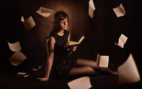 reading, books, girl, model
