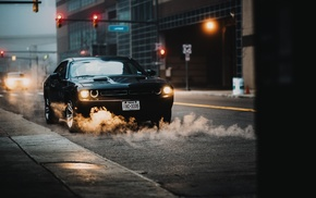 urban, traffic lights, street, car, smoke