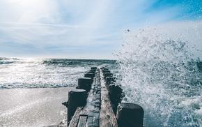 beach, sea, waves