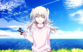 Charlotte anime, silver hair, anime, blonde, water, smiling