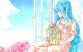window, Hatsune Miku, birdcage, blue hair, anime girls, Vocaloid