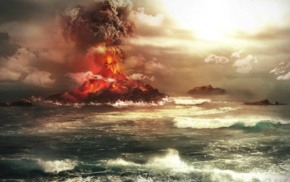 volcanic eruption, island