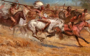 Native Americans, battle, spear