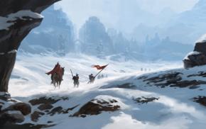 white, blue, flag, spear, ice, horse