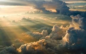 clouds, sun rays