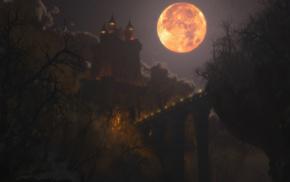 bridge, Moon, bats, castle