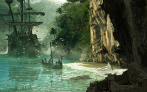 Assassins Creed, landscape, boat, island, cave, Blake Rottinger