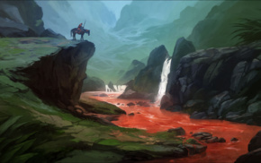 horse, fantasy art, blood, nature, warrior, river
