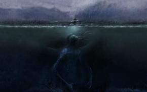 giant, boat, artwork, sea, sea monsters, underwater