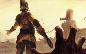 digital art, hero, helmet, fantasy art, blood, warrior
