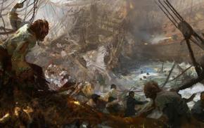 sea, battle, shipwreck