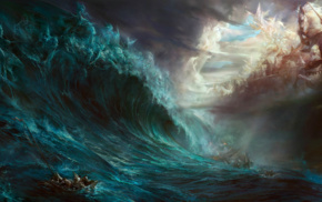 artwork, fantasy art, war, sea, water, magic