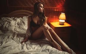 sitting, looking away, lingerie, girl, Jean, Michel Decoste