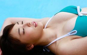 girl, wet body, Mizuki Fukumura, lips, bikini, auburn hair