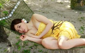 Mizuki Fukumura, Asian, auburn hair, flower in hair, Morning Musume, girl