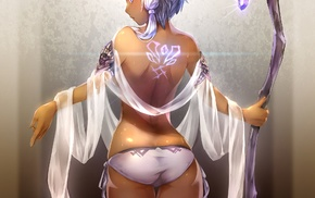 ass, anime girls, anime, tattoo, pointed ears, topless