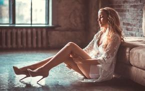 sitting, girl, blonde, see, through clothing, legs