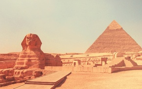 Egypt, desert, Pyramids of Giza, Sphinx of Giza, pyramid