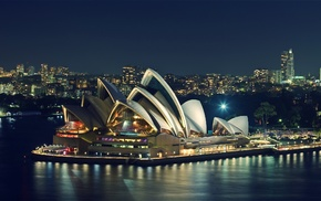 city, night, Sydney, Sydney Opera House, sea