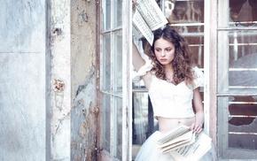 musical notes, window, brunette, broken glass, skirt, model