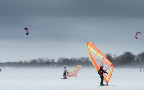trees, parachutes, nature, snow, kite surfing, windy