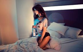 auburn hair, alcohol, girl indoors, open mouth, girl, Ivan Gorokhov